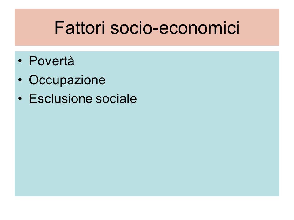 Fattori socio-economici Povertà Occupazione Esclusione sociale