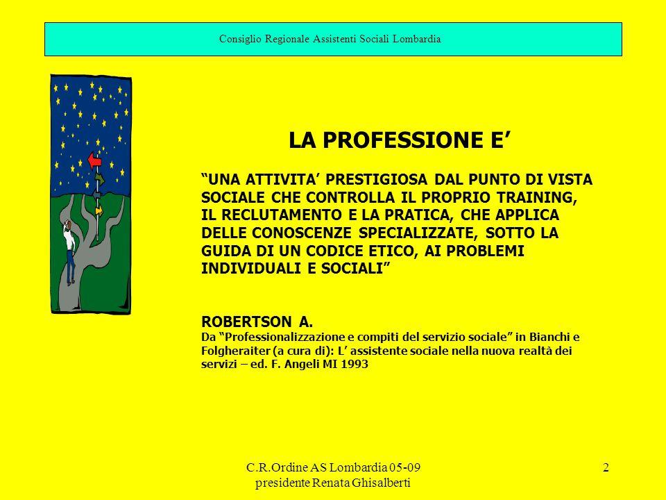 C.R.Ordine AS Lombardia 05-09 presidente Renata Ghisalberti 2 Consiglio Regionale Assistenti Sociali Lombardia LA PROFESSIONE E' UNA ATTIVITA' PRESTIGIOSA DAL PUNTO DI VISTA SOCIALE CHE CONTROLLA IL PROPRIO TRAINING, IL RECLUTAMENTO E LA PRATICA, CHE APPLICA DELLE CONOSCENZE SPECIALIZZATE, SOTTO LA GUIDA DI UN CODICE ETICO, AI PROBLEMI INDIVIDUALI E SOCIALI ROBERTSON A.