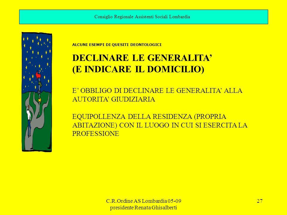 C.R.Ordine AS Lombardia 05-09 presidente Renata Ghisalberti 27 Consiglio Regionale Assistenti Sociali Lombardia ALCUNI ESEMPI DI QUESITI DEONTOLOGICI DECLINARE LE GENERALITA' (E INDICARE IL DOMICILIO) E' OBBLIGO DI DECLINARE LE GENERALITA' ALLA AUTORITA' GIUDIZIARIA EQUIPOLLENZA DELLA RESIDENZA (PROPRIA ABITAZIONE) CON IL LUOGO IN CUI SI ESERCITA LA PROFESSIONE