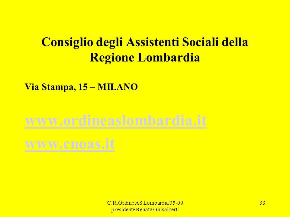 C.R.Ordine AS Lombardia 05-09 presidente Renata Ghisalberti 33 Consiglio degli Assistenti Sociali della Regione Lombardia Via Stampa, 15 – MILANO www.ordineaslombardia.it www.cnoas.it