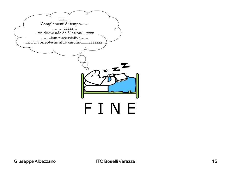 Giuseppe AlbezzanoITC Boselli Varazze15 F I N E zzz….. Complementi di tempo…… ………zzzzz…..sto dormendo da 8 lezioni…zzzz ……..iam + accustativo…… ….mi c