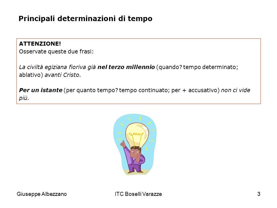 Giuseppe AlbezzanoITC Boselli Varazze4 a) Complementi di tempo determinato e continuato Come avete visto, il complemento di tempo determinato risponde alla domanda quando? e si trova senza preposizione o con in, di, a .