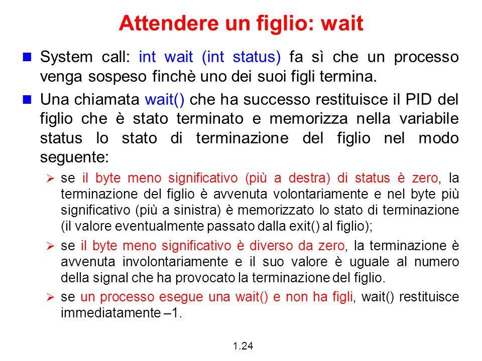 1.24 Attendere un figlio: wait System call: int wait (int status) fa sì che un processo venga sospeso finchè uno dei suoi figli termina.