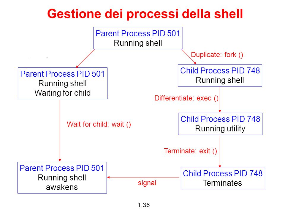 1.36 Gestione dei processi della shell Parent Process PID 501 Running shell Child Process PID 748 Running shell Child Process PID 748 Running utility Child Process PID 748 Terminates Parent Process PID 501 Running shell Waiting for child Parent Process PID 501 Running shell awakens Duplicate: fork () Differentiate: exec () Terminate: exit () signal Wait for child: wait ()