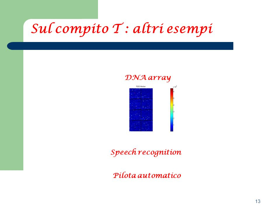 13 Speech recognition DNA array Pilota automatico Sul compito T : altri esempi