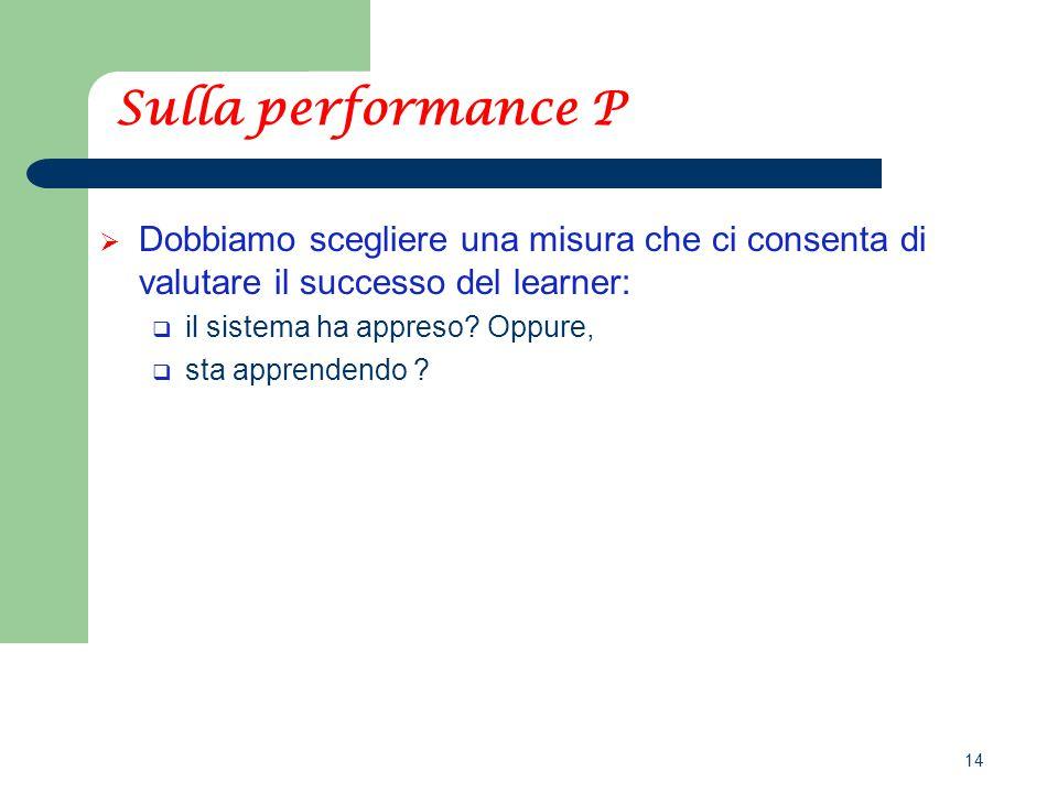 14 Sulla performance P  Dobbiamo scegliere una misura che ci consenta di valutare il successo del learner:  il sistema ha appreso.