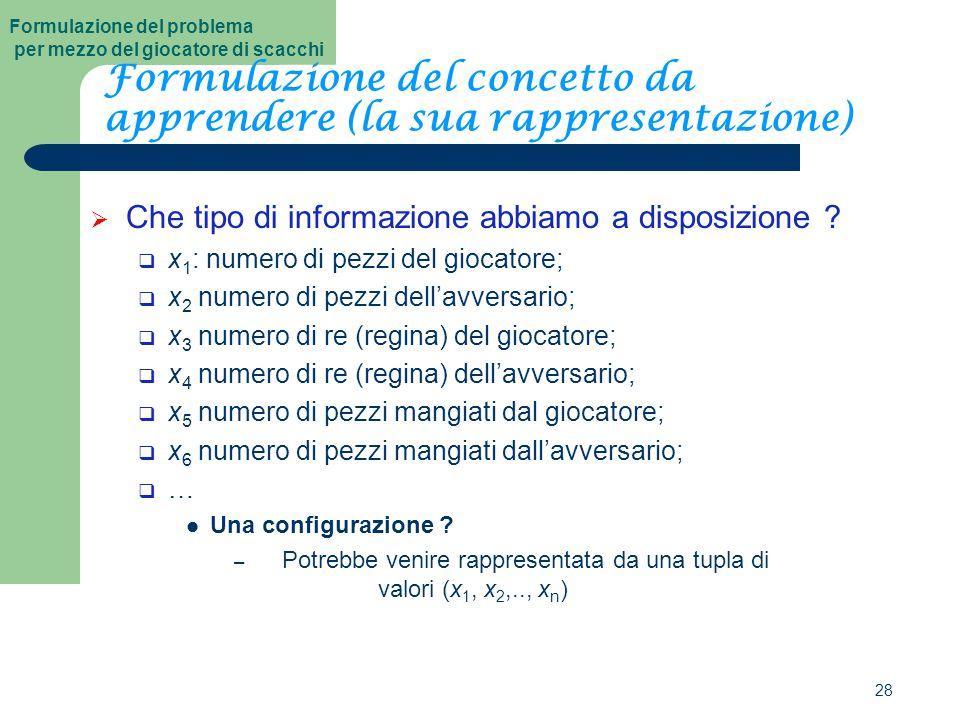 28 Formulazione del concetto da apprendere (la sua rappresentazione)  Che tipo di informazione abbiamo a disposizione .