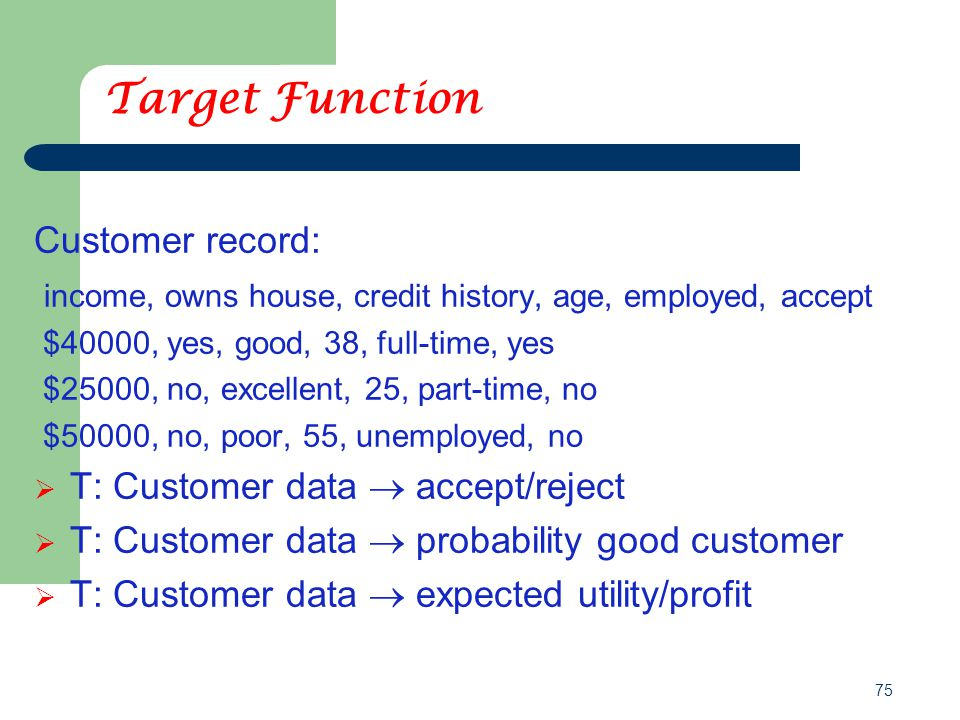 75 Target Function Customer record: income, owns house, credit history, age, employed, accept $40000, yes, good, 38, full-time, yes $25000, no, excellent, 25, part-time, no $50000, no, poor, 55, unemployed, no  T: Customer data  accept/reject  T: Customer data  probability good customer  T: Customer data  expected utility/profit
