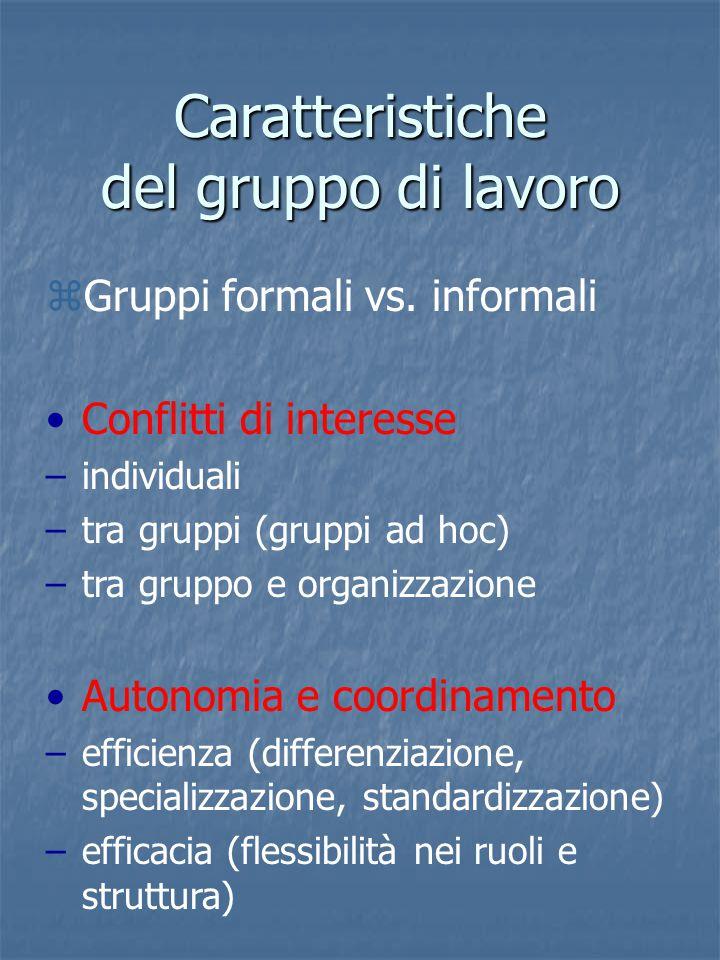 Caratteristiche del gruppo di lavoro zGruppi formali vs.