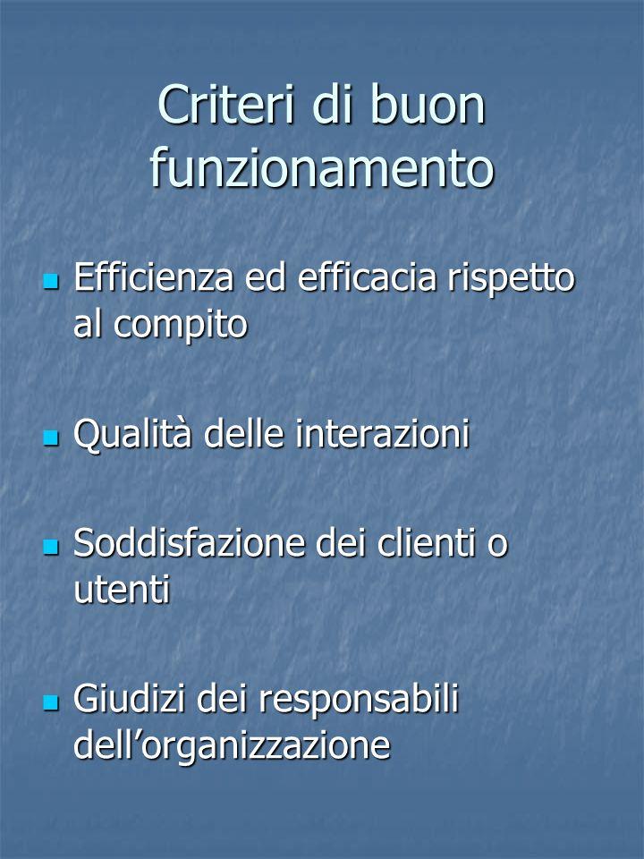 Criteri di buon funzionamento Efficienza ed efficacia rispetto al compito Efficienza ed efficacia rispetto al compito Qualità delle interazioni Qualità delle interazioni Soddisfazione dei clienti o utenti Soddisfazione dei clienti o utenti Giudizi dei responsabili dell'organizzazione Giudizi dei responsabili dell'organizzazione