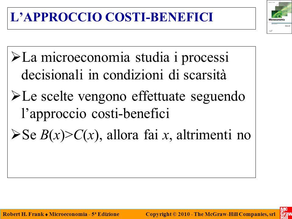 Robert H. Frank  Microeconomia - 5 a Edizione Copyright © 2010 - The McGraw-Hill Companies, srl L'APPROCCIO COSTI-BENEFICI  La microeconomia studia