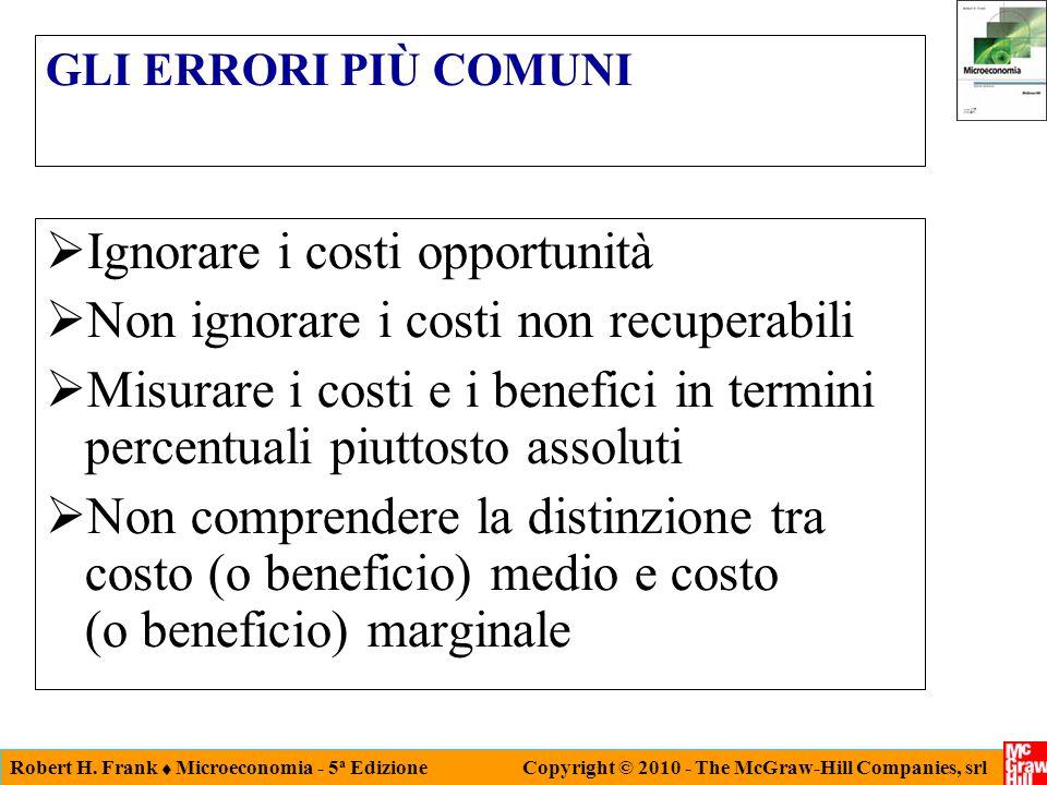 Robert H. Frank  Microeconomia - 5 a Edizione Copyright © 2010 - The McGraw-Hill Companies, srl GLI ERRORI PIÙ COMUNI  Ignorare i costi opportunità