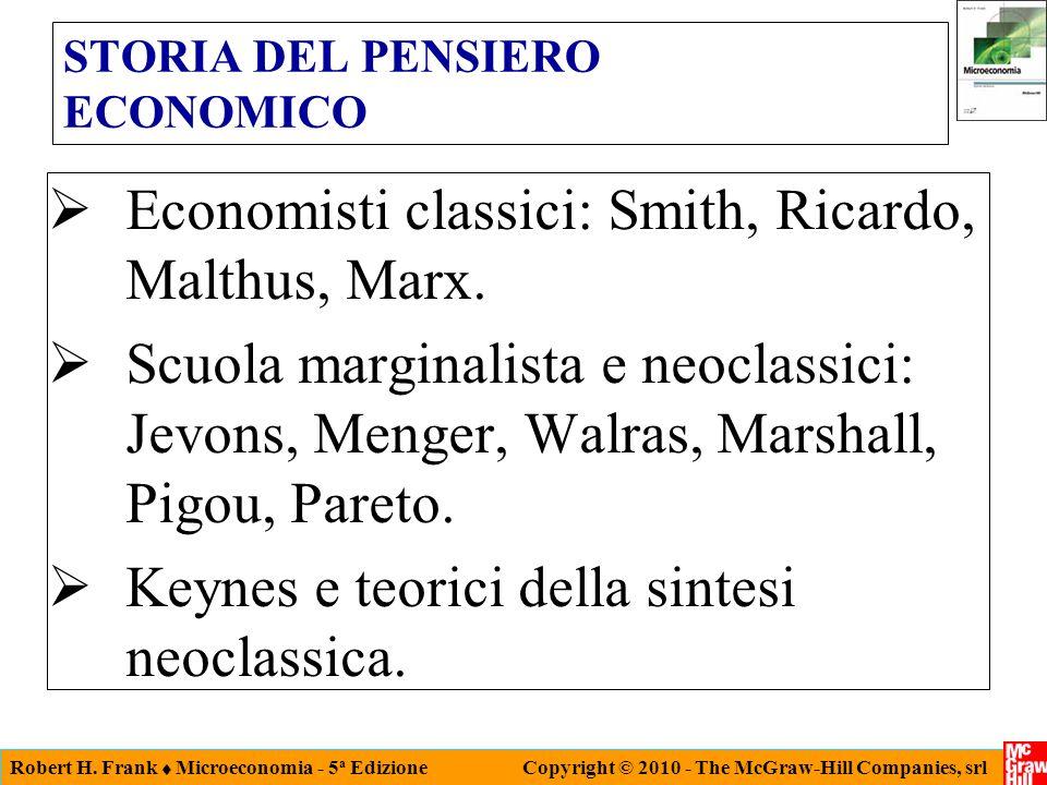 Robert H. Frank  Microeconomia - 5 a Edizione Copyright © 2010 - The McGraw-Hill Companies, srl STORIA DEL PENSIERO ECONOMICO  Economisti classici:
