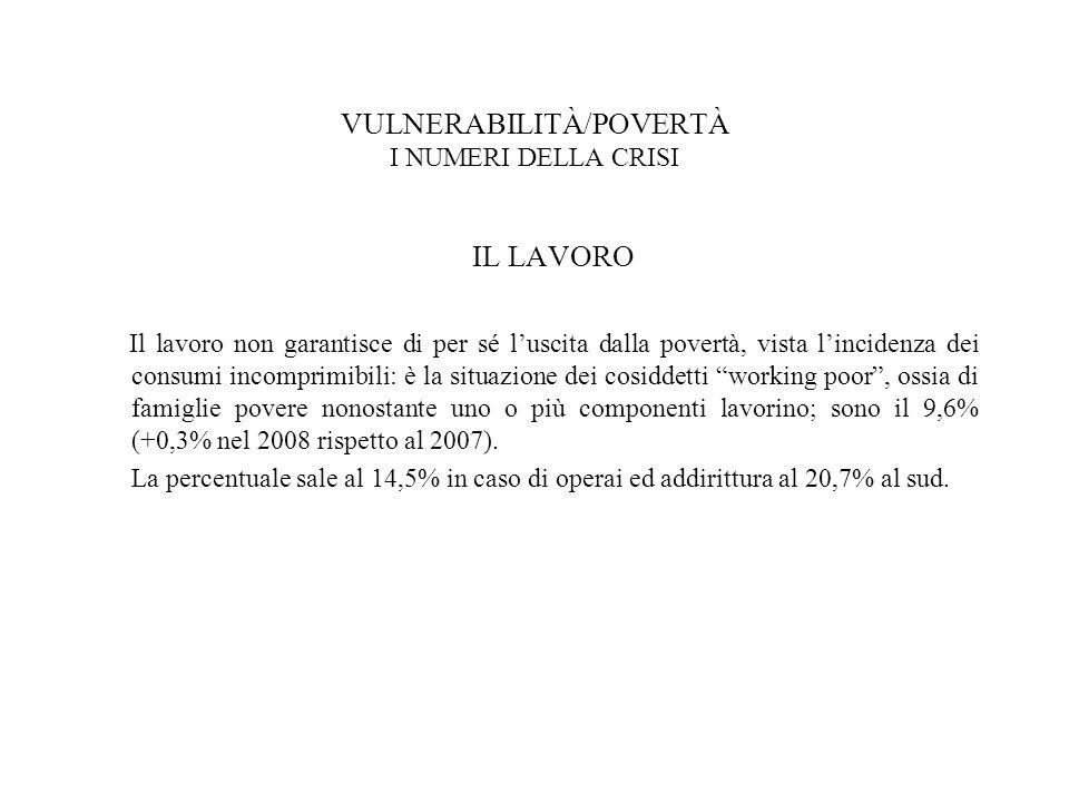 VULNERABILITÀ/POVERTÀ I NUMERI DELLA CRISI IL LAVORO Il lavoro non garantisce di per sé l'uscita dalla povertà, vista l'incidenza dei consumi incomprimibili: è la situazione dei cosiddetti working poor , ossia di famiglie povere nonostante uno o più componenti lavorino; sono il 9,6% (+0,3% nel 2008 rispetto al 2007).