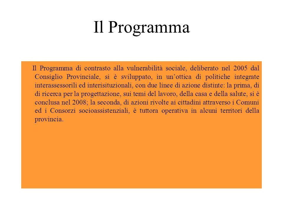 Il Programma Il Programma di contrasto alla vulnerabilità sociale, deliberato nel 2005 dal Consiglio Provinciale, si è sviluppato, in un'ottica di politiche integrate interassessorili ed interisituzionali, con due linee di azione distinte: la prima, di di ricerca per la progettazione, sui temi del lavoro, della casa e della salute, si è conclusa nel 2008; la seconda, di azioni rivolte ai cittadini attraverso i Comuni ed i Consorzi socioassistenziali, è tuttora operativa in alcuni territori della provincia.