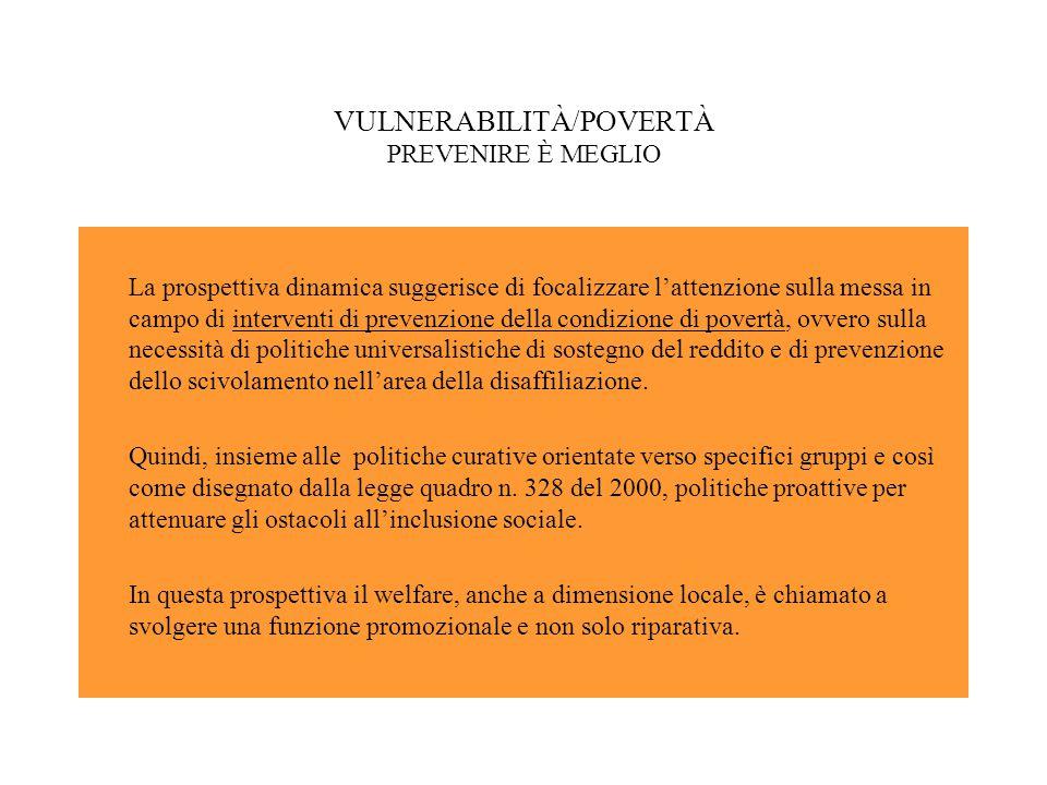 VULNERABILITÀ/POVERTÀ PREVENIRE È MEGLIO La prospettiva dinamica suggerisce di focalizzare l'attenzione sulla messa in campo di interventi di prevenzione della condizione di povertà, ovvero sulla necessità di politiche universalistiche di sostegno del reddito e di prevenzione dello scivolamento nell'area della disaffiliazione.