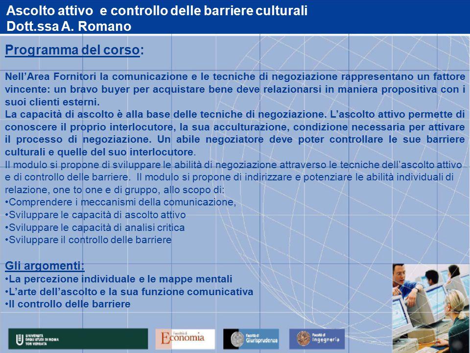 Ascolto attivo e controllo delle barriere culturali Dott.ssa A.