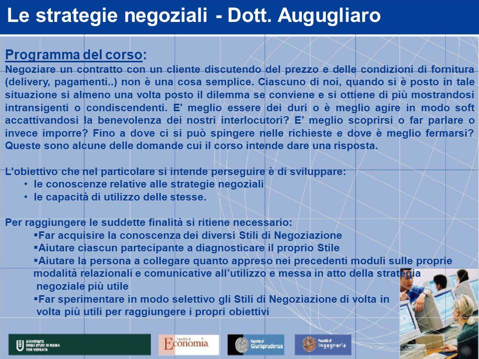 Le strategie negoziali - Dott.