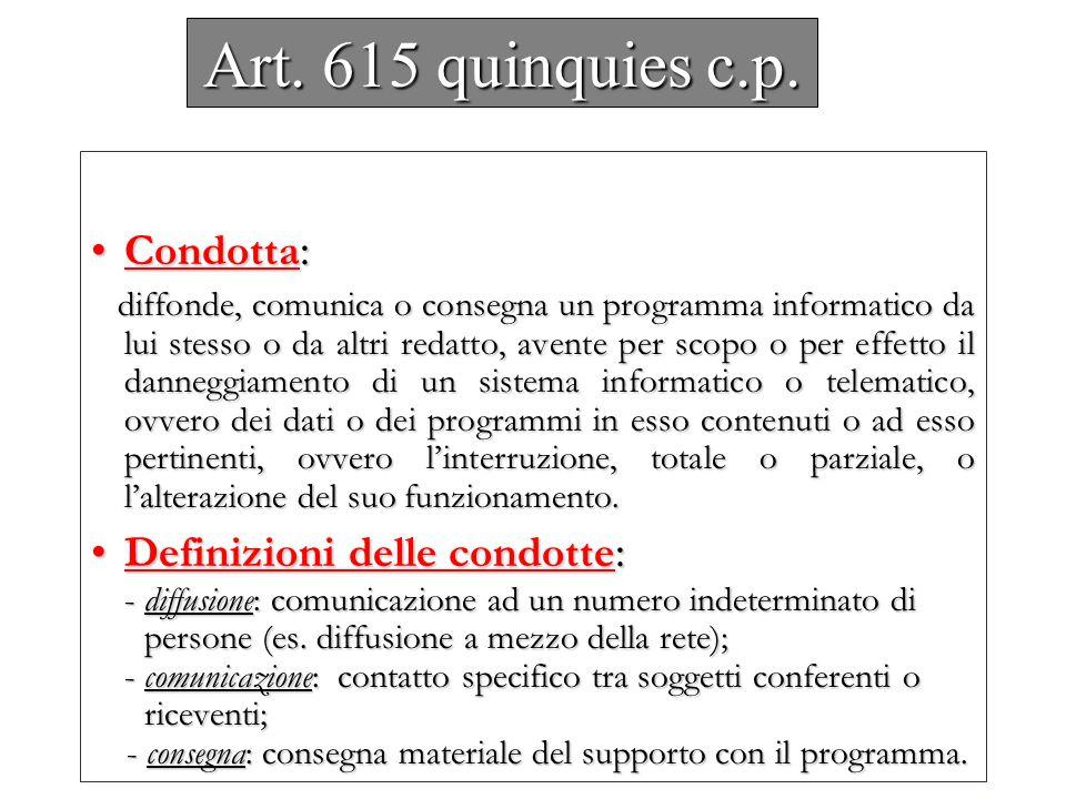 Art. 615 quinquies c.p. Condotta :Condotta : diffonde, comunica o consegna un programma informatico da lui stesso o da altri redatto, avente per scopo