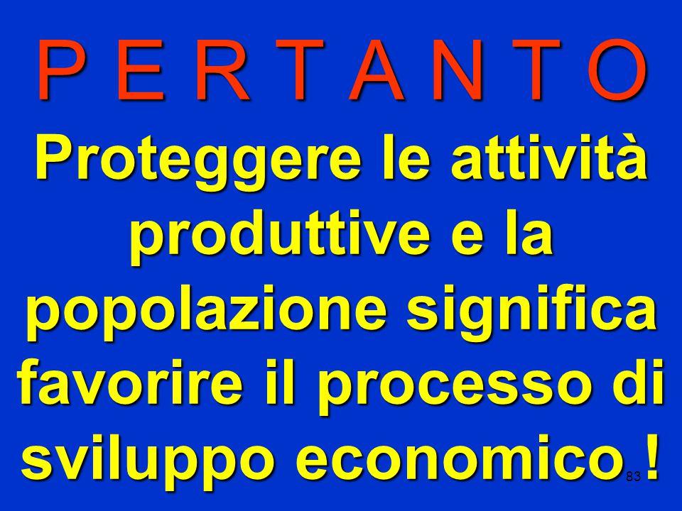 83 P E R T A N T O Proteggere le attività produttive e la popolazione significa favorire il processo di sviluppo economico !