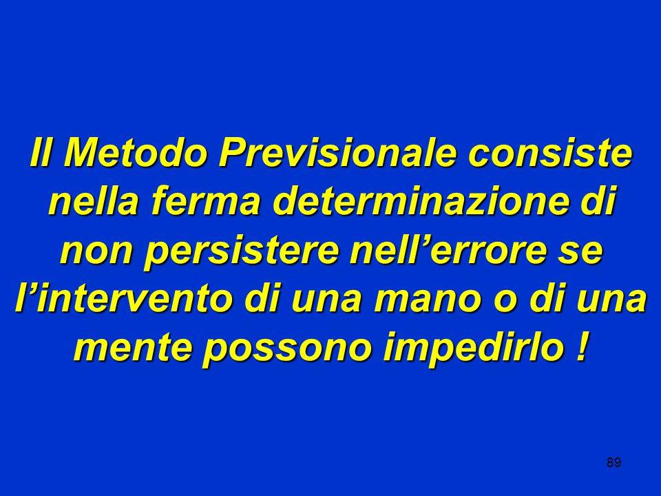 89 Il Metodo Previsionale consiste nella ferma determinazione di non persistere nell'errore se l'intervento di una mano o di una mente possono impedirlo !