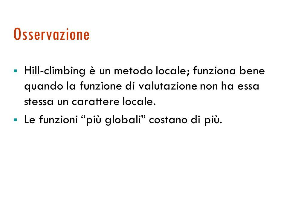 Osservazione  Hill-climbing è un metodo locale; funziona bene quando la funzione di valutazione non ha essa stessa un carattere locale.