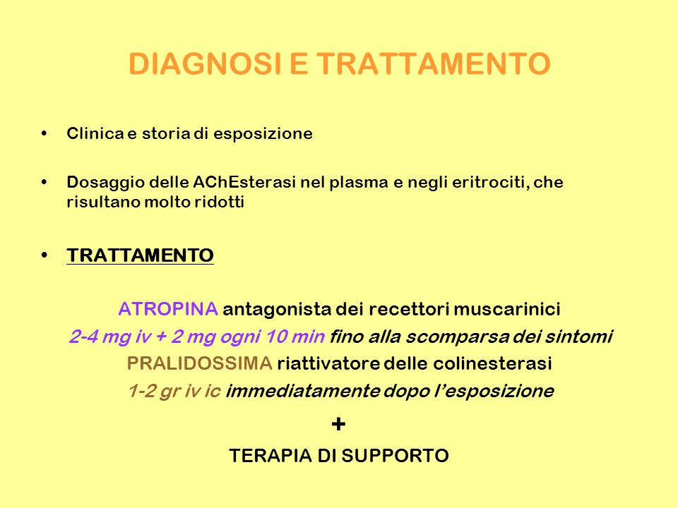 DIAGNOSI E TRATTAMENTO Clinica e storia di esposizione Dosaggio delle AChEsterasi nel plasma e negli eritrociti, che risultano molto ridotti TRATTAMENTO ATROPINA antagonista dei recettori muscarinici 2-4 mg iv + 2 mg ogni 10 min fino alla scomparsa dei sintomi PRALIDOSSIMA riattivatore delle colinesterasi 1-2 gr iv ic immediatamente dopo l'esposizione + TERAPIA DI SUPPORTO
