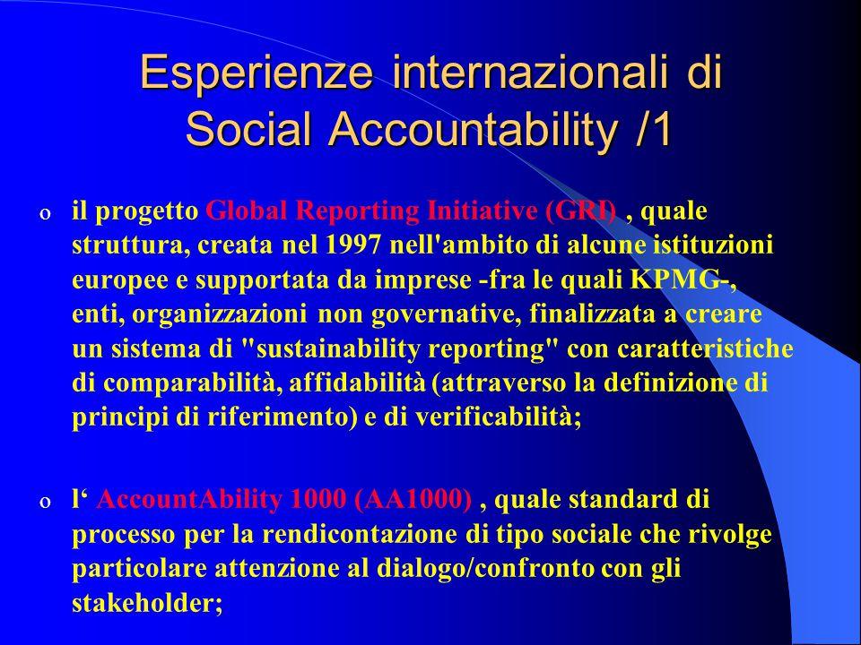 o il progetto Global Reporting Initiative (GRI), quale struttura, creata nel 1997 nell ambito di alcune istituzioni europee e supportata da imprese -fra le quali KPMG-, enti, organizzazioni non governative, finalizzata a creare un sistema di sustainability reporting con caratteristiche di comparabilità, affidabilità (attraverso la definizione di principi di riferimento) e di verificabilità; o l' AccountAbility 1000 (AA1000), quale standard di processo per la rendicontazione di tipo sociale che rivolge particolare attenzione al dialogo/confronto con gli stakeholder; Esperienze internazionali di Social Accountability /1