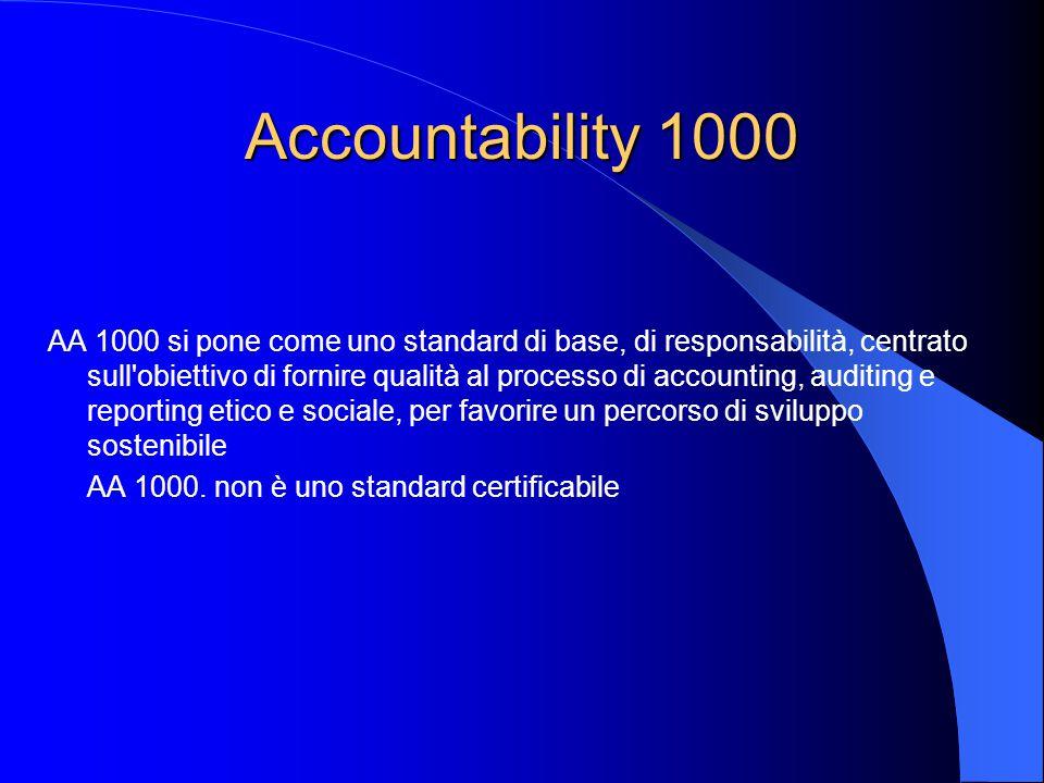 Accountability 1000 AA 1000 si pone come uno standard di base, di responsabilità, centrato sull obiettivo di fornire qualità al processo di accounting, auditing e reporting etico e sociale, per favorire un percorso di sviluppo sostenibile AA 1000.