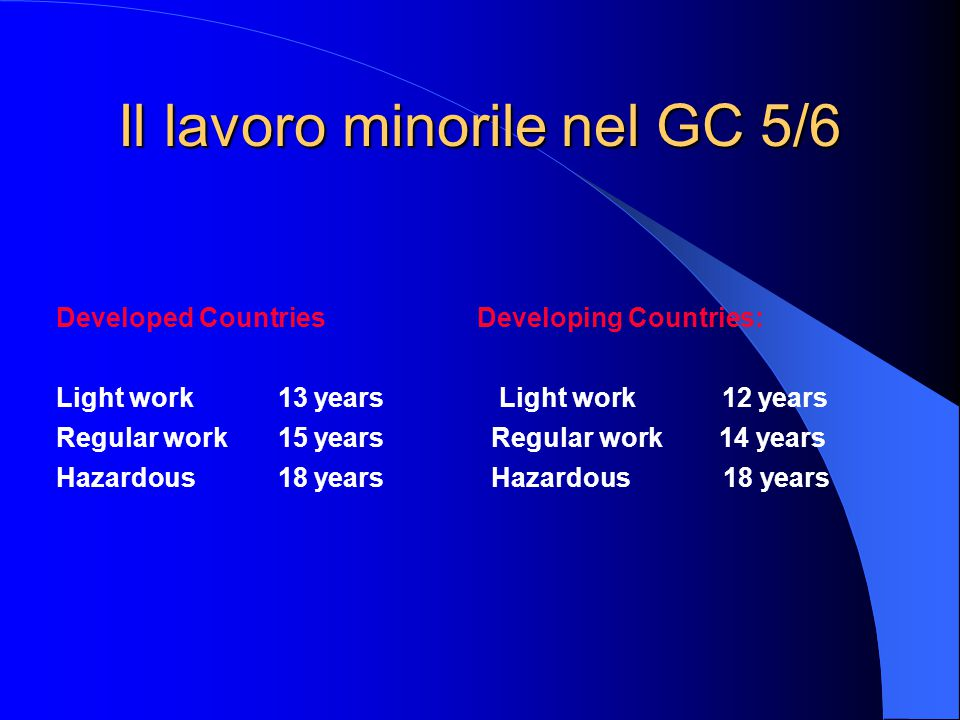 Il lavoro minorile nel GC 5/6 Developed Countries Developing Countries: Light work 13 years Light work 12 years Regular work 15 years Regular work 14