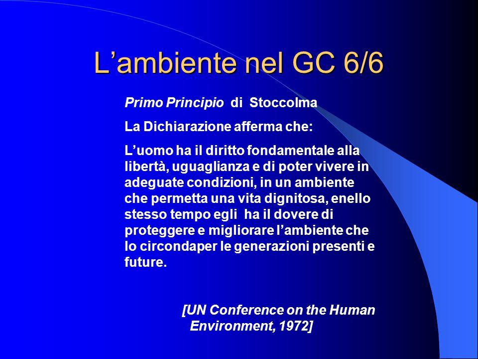 L'ambiente nel GC 6/6 Primo Principio di Stoccolma La Dichiarazione afferma che: L'uomo ha il diritto fondamentale alla libertà, uguaglianza e di poter vivere in adeguate condizioni, in un ambiente che permetta una vita dignitosa, enello stesso tempo egli ha il dovere di proteggere e migliorare l'ambiente che lo circondaper le generazioni presenti e future.