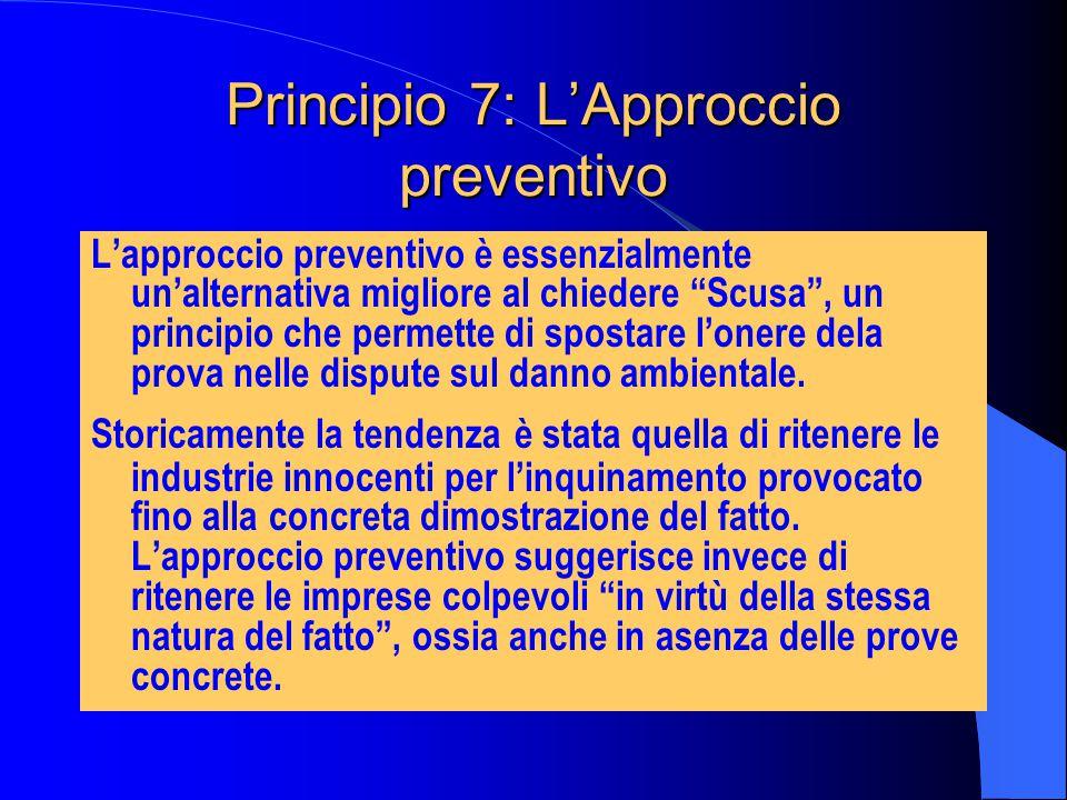 Principio 7: L'Approccio preventivo L'approccio preventivo è essenzialmente un'alternativa migliore al chiedere Scusa , un principio che permette di spostare l'onere dela prova nelle dispute sul danno ambientale.