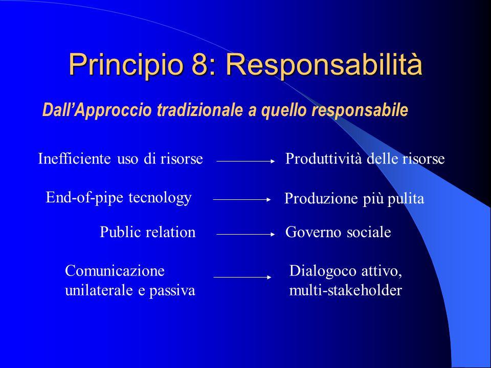 Principio 8: Responsabilità Dall'Approccio tradizionale a quello responsabile Inefficiente uso di risorseProduttività delle risorse End-of-pipe tecnology Produzione più pulita Public relationGoverno sociale Comunicazione unilaterale e passiva Dialogoco attivo, multi-stakeholder
