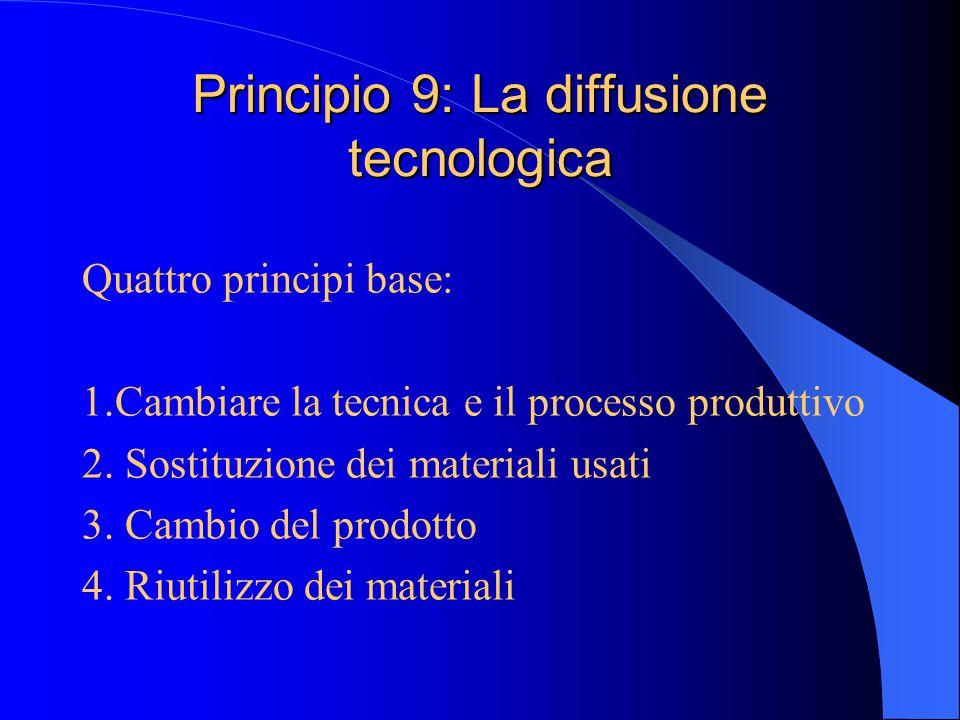Principio 9: La diffusione tecnologica Quattro principi base: 1.Cambiare la tecnica e il processo produttivo 2.