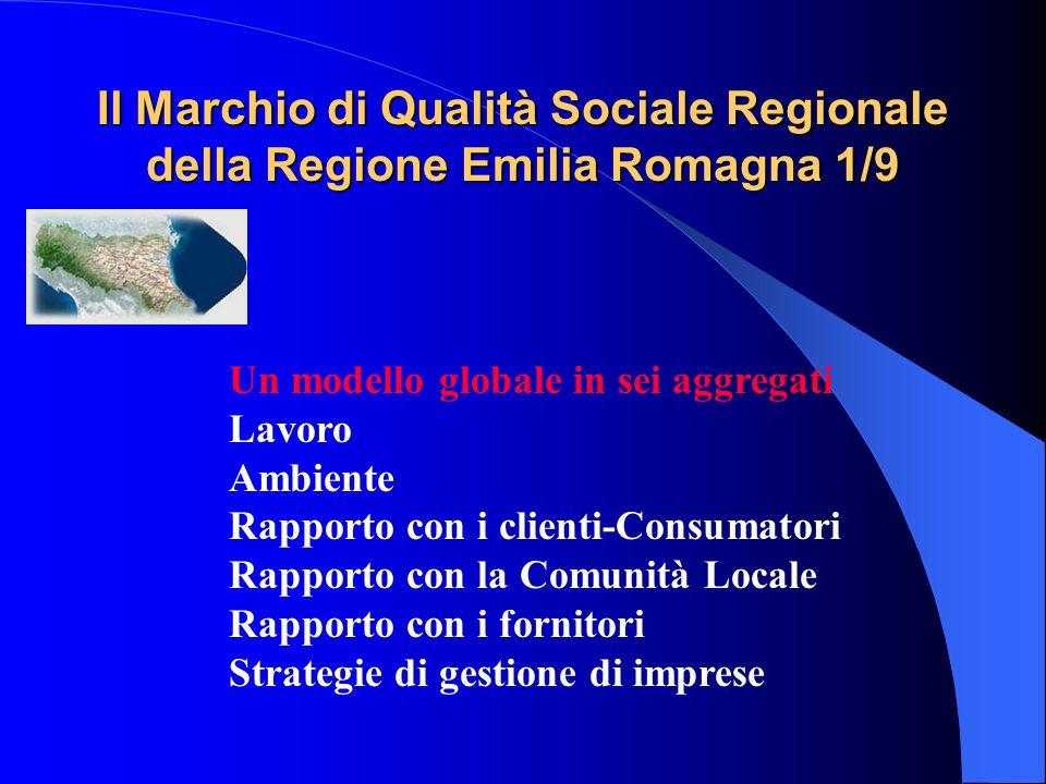 Il Marchio di Qualità Sociale Regionale della Regione Emilia Romagna 1/9 Un modello globale in sei aggregati Lavoro Ambiente Rapporto con i clienti-Consumatori Rapporto con la Comunità Locale Rapporto con i fornitori Strategie di gestione di imprese