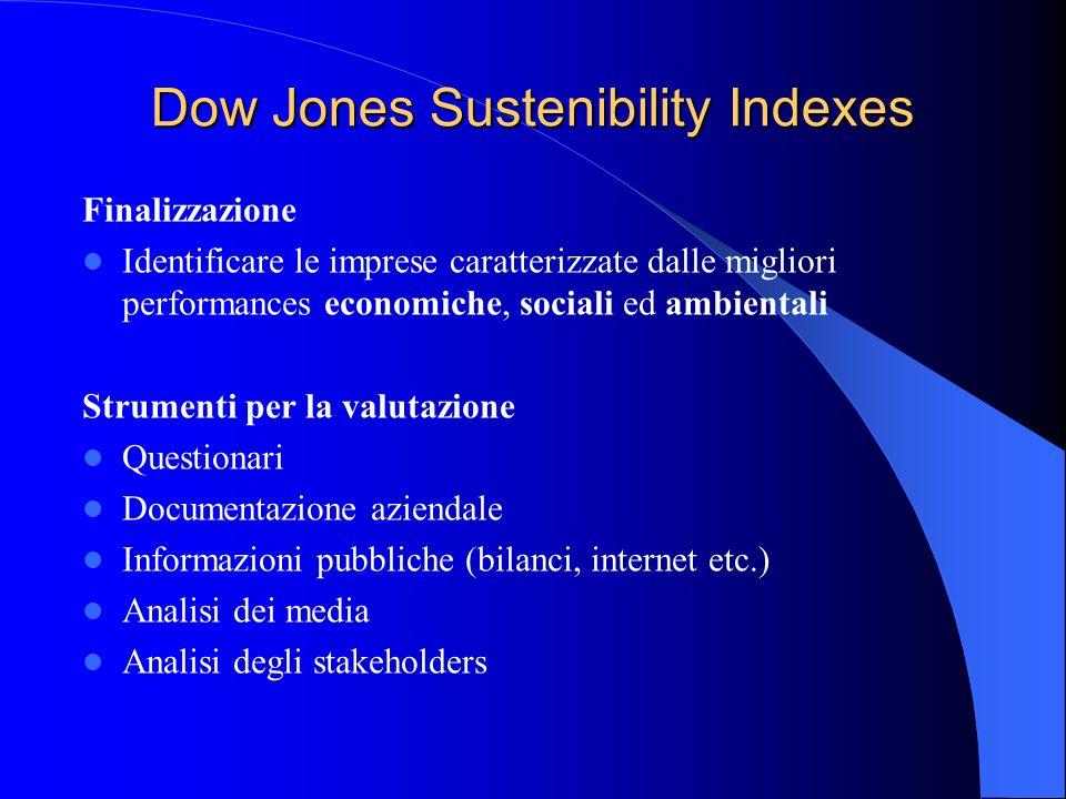 Dow Jones Sustenibility Indexes Finalizzazione Identificare le imprese caratterizzate dalle migliori performances economiche, sociali ed ambientali Strumenti per la valutazione Questionari Documentazione aziendale Informazioni pubbliche (bilanci, internet etc.) Analisi dei media Analisi degli stakeholders