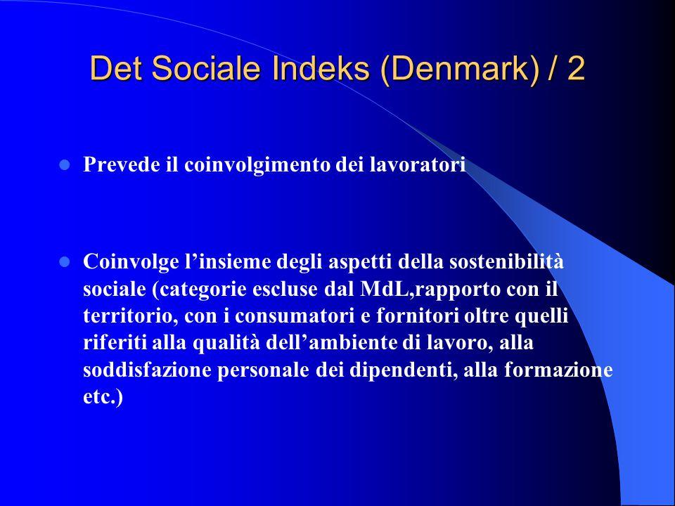 Det Sociale Indeks (Denmark) / 2 Prevede il coinvolgimento dei lavoratori Coinvolge l'insieme degli aspetti della sostenibilità sociale (categorie escluse dal MdL,rapporto con il territorio, con i consumatori e fornitori oltre quelli riferiti alla qualità dell'ambiente di lavoro, alla soddisfazione personale dei dipendenti, alla formazione etc.)