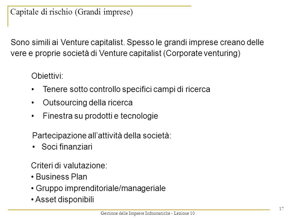Gestione delle Imprese Informatiche - Lezione 10 17 Capitale di rischio (Grandi imprese) Sono simili ai Venture capitalist.