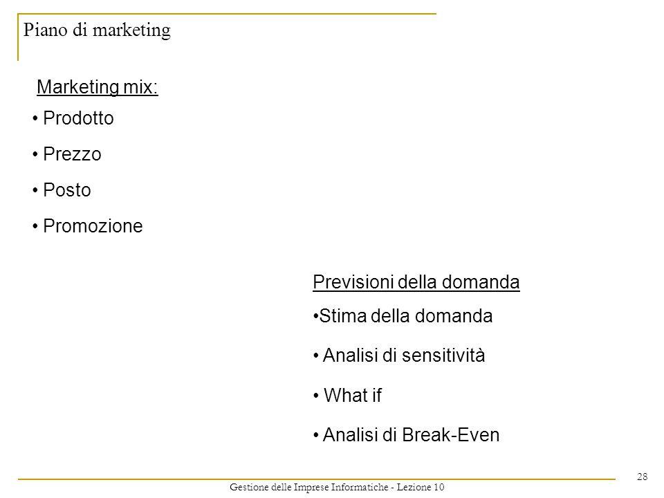 Gestione delle Imprese Informatiche - Lezione 10 28 Piano di marketing Marketing mix: Prodotto Prezzo Posto Promozione Previsioni della domanda Stima della domanda Analisi di sensitività What if Analisi di Break-Even
