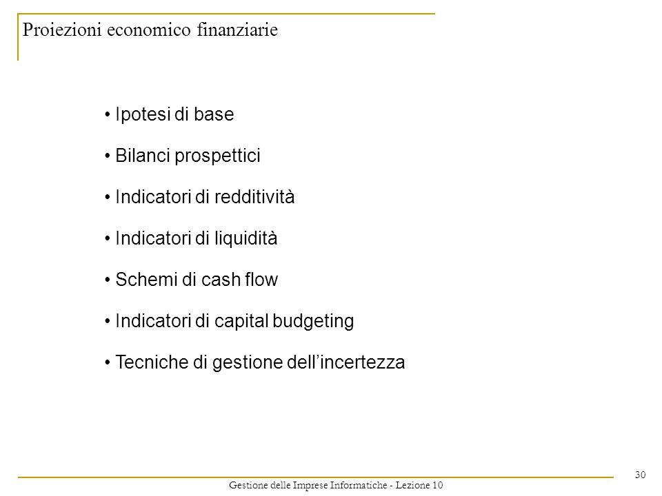 Gestione delle Imprese Informatiche - Lezione 10 30 Proiezioni economico finanziarie Ipotesi di base Bilanci prospettici Indicatori di redditività Indicatori di liquidità Schemi di cash flow Indicatori di capital budgeting Tecniche di gestione dell'incertezza