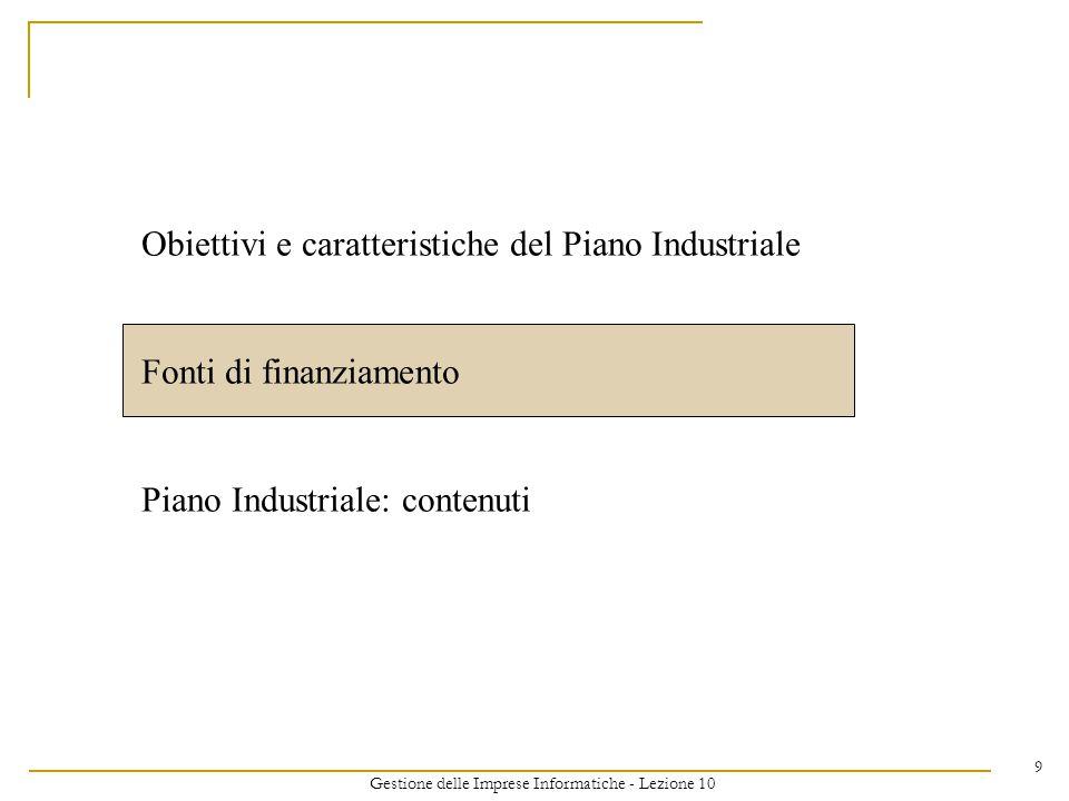 Gestione delle Imprese Informatiche - Lezione 10 9 Obiettivi e caratteristiche del Piano Industriale Fonti di finanziamento Piano Industriale: contenuti