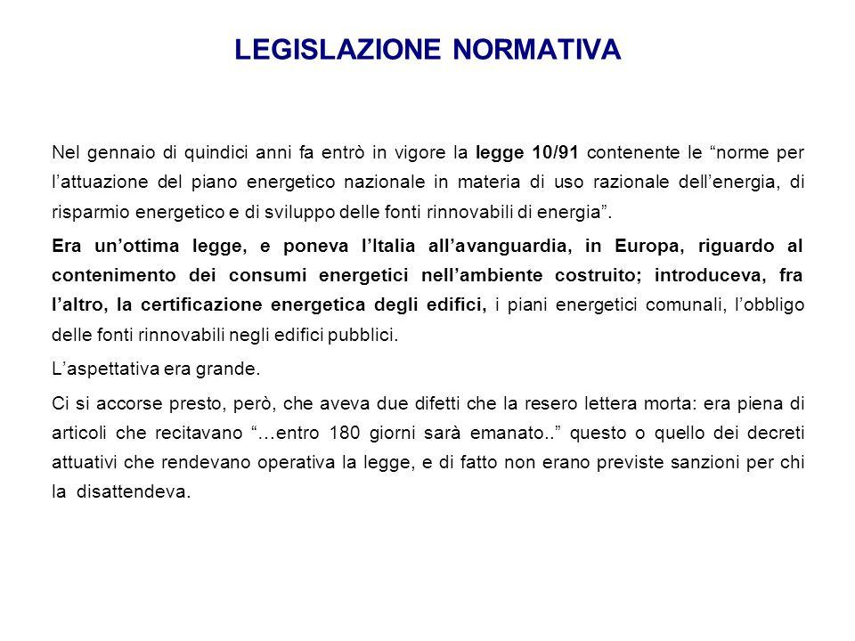 """LEGISLAZIONE NORMATIVA Nel gennaio di quindici anni fa entrò in vigore la legge 10/91 contenente le """"norme per l'attuazione del piano energetico nazio"""