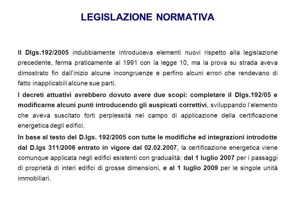 LEGISLAZIONE NORMATIVA Il Dlgs.192/2005 indubbiamente introduceva elementi nuovi rispetto alla legislazione precedente, ferma praticamente al 1991 con