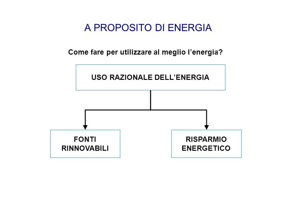 A PROPOSITO DI ENERGIA USO RAZIONALE DELL'ENERGIA FONTI RINNOVABILI RISPARMIO ENERGETICO Come fare per utilizzare al meglio l'energia?