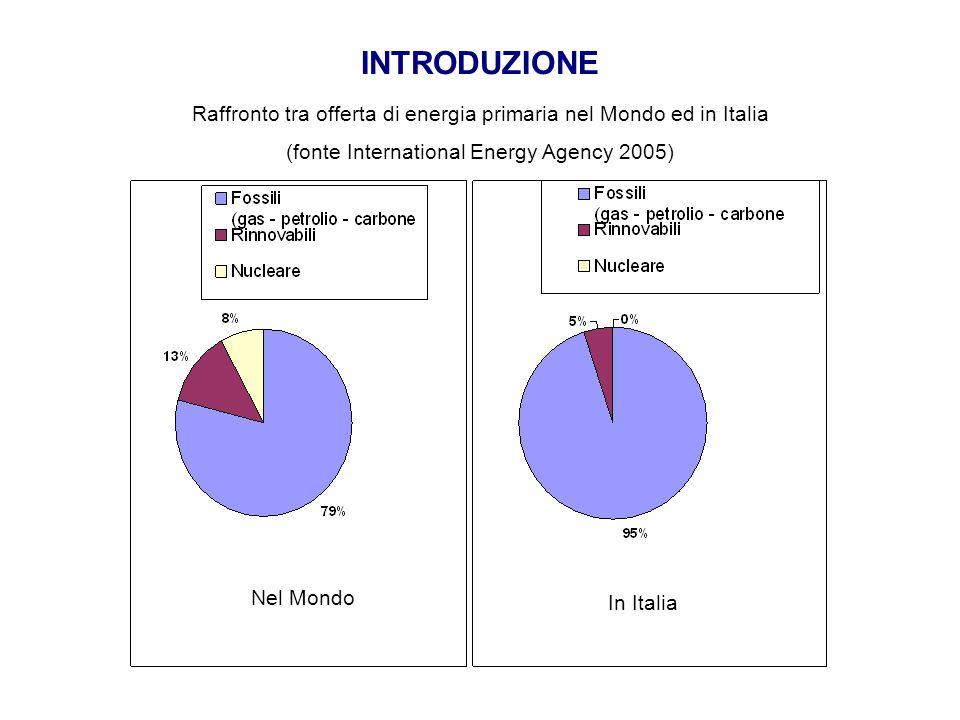 INTRODUZIONE Raffronto tra offerta di energia primaria nel Mondo ed in Italia (fonte International Energy Agency 2005) Nel Mondo In Italia
