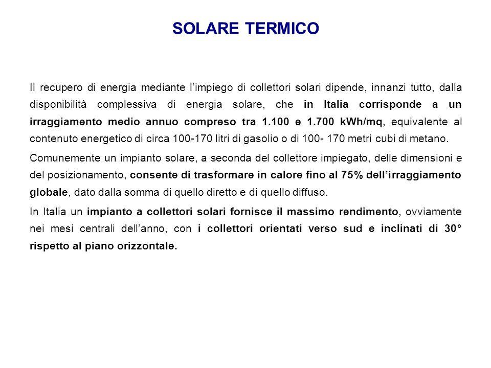 SOLARE TERMICO Il recupero di energia mediante l'impiego di collettori solari dipende, innanzi tutto, dalla disponibilità complessiva di energia solar