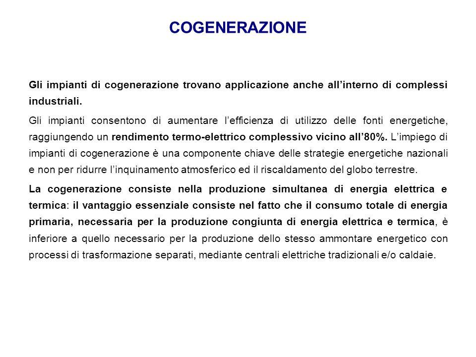 COGENERAZIONE Gli impianti di cogenerazione trovano applicazione anche all'interno di complessi industriali. Gli impianti consentono di aumentare l'ef