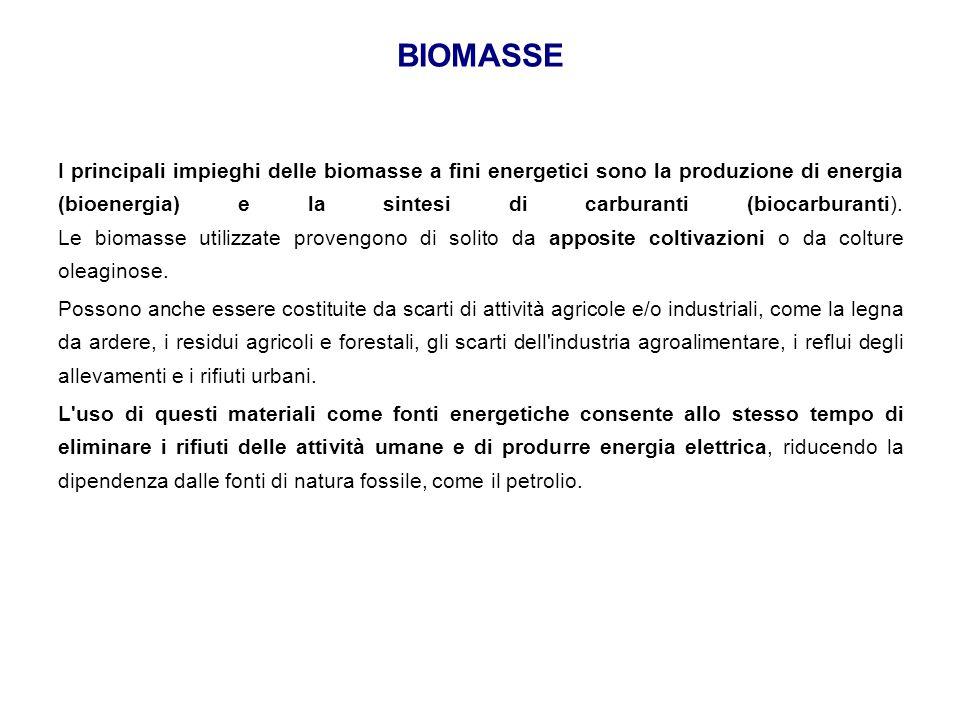 BIOMASSE I principali impieghi delle biomasse a fini energetici sono la produzione di energia (bioenergia) e la sintesi di carburanti (biocarburanti).