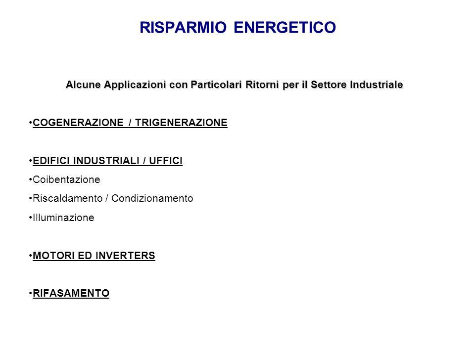 RISPARMIO ENERGETICO Alcune Applicazioni con Particolari Ritorni per il Settore Industriale COGENERAZIONE / TRIGENERAZIONE EDIFICI INDUSTRIALI / UFFIC