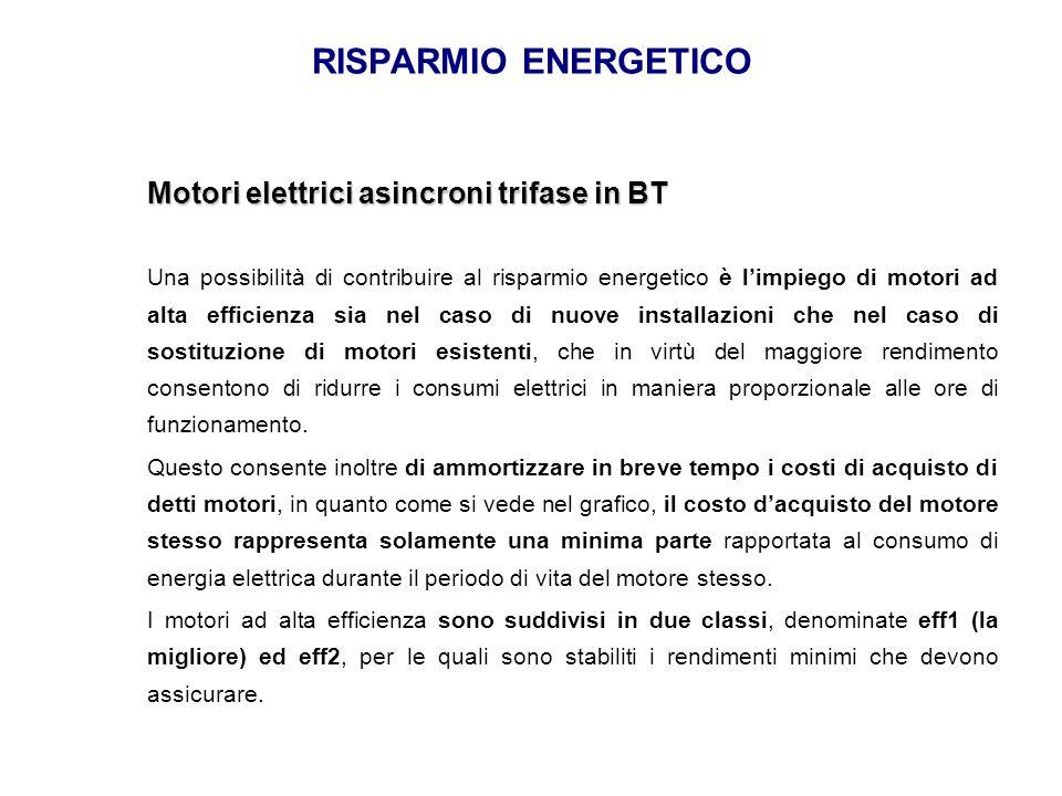 RISPARMIO ENERGETICO Motori elettrici asincroni trifase in BT Una possibilità di contribuire al risparmio energetico è l'impiego di motori ad alta eff